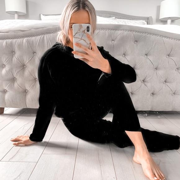 Two Piece Black Loungewear Ultra Soft Knitted Set
